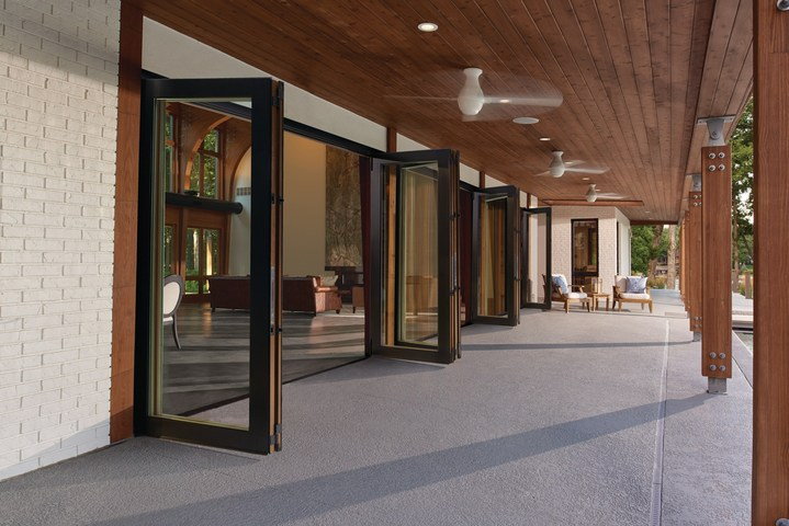Marvin Clad Ultimate Bi-Fold Door 3x6x10 Wide Glass Panels
